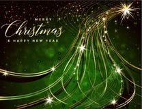 与文本圣诞快乐的绿色和金黄圣诞节背景 库存例证