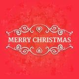 与文本圣诞快乐的花梢华丽边界在红色织地不很细背景 免版税库存图片