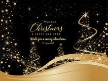 与文本圣诞快乐的黑和金黄圣诞节背景 向量例证