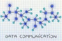 与文本数据Communicati的抽象发光的网络例证 库存照片