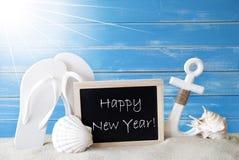 与文本新年快乐的晴朗的夏天卡片 库存图片
