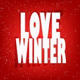 与文本爱冬天和雪的贺卡 免版税库存照片