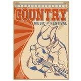 与文本的乡村音乐背景 牛仔帽playi的音乐家 免版税库存照片