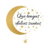 与文本的印刷品有美梦在西班牙语 祝愿与月亮和星的横幅在金子颜色 库存照片