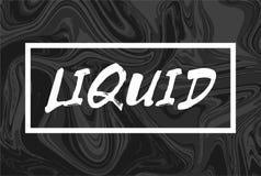 与文本的抽象液体背景 时髦的设计液化盖子 黑色白色 库存图片