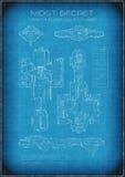 与文本的最高机密的太空飞船图纸 免版税图库摄影