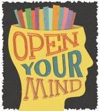 与文本的海报打开您的头脑 免版税库存图片