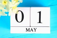 与文本的白色木日历:5月1日 黄水仙白花在一张蓝色木桌上的 劳动节和春天 库存照片