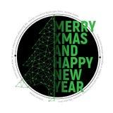 与文本的绿色多角形圣诞树圣诞快乐的 库存图片