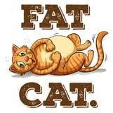 与文本的肥胖猫 免版税库存图片