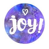 与文本的水彩徽章:喜悦!抽象水彩圆的设计 免版税库存图片