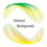与文本的绿色和黄色呈虹彩镶边元素在中心 抽象背景 标签的,横幅,徽章模板 库存图片