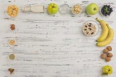与文本空间的健康早餐在右角 免版税库存图片