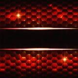 与文本空间的抽象黑色红色六角形背景 免版税库存图片