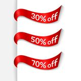 与文本30% 50% 70%的红色丝带在白色背景给横幅海报促进做广告设计的被隔绝的元素  皇族释放例证