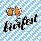 与文本bierfest传染媒介字法例证的传统德国人慕尼黑啤酒节棺架节日在拜仁背景 库存照片