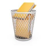 与文件夹的字纸篓 库存图片