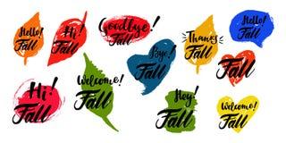 与斑点的秋天书法集合在背景 刷子书法,手字法 对日历,日程表,日志 库存照片