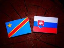 与斯洛伐克的旗子的刚果民主共和国旗子在t 免版税库存照片