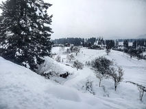 与斯诺伊纹理的冬天风景 免版税库存照片