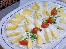 与新切片的可口和豪华开胃酒与菜的鸡蛋 图库摄影