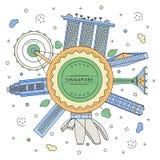与新加坡大厦的圆的徽章 免版税库存照片