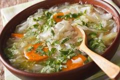 与新圆白菜关闭的饮食汤在碗 水平 库存照片
