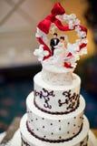 与新娘和新郎轻便短大衣的婚宴喜饼 免版税库存图片