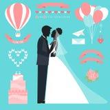 与新娘,新郎剪影的婚礼汇集 免版税库存照片