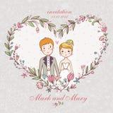 与新娘,新郎,花的婚礼邀请。 免版税库存照片