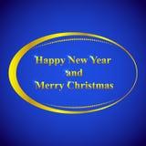 与新年和圣诞节,美好的原始的设计的贺卡 免版税库存照片