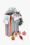 与新年度的玩具和衡量单位的袋子 免版税库存图片