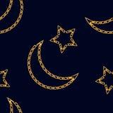 与新月形月亮链子和星标志的无缝的样式 时尚印刷品的金黄链装饰品 皇族释放例证