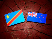 与新西兰旗子的刚果民主共和国旗子在a 免版税库存照片