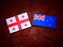 与新西兰旗子的英王乔治一世至三世时期旗子在被隔绝的树桩 向量例证
