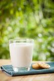 与新鲜的乳白玻璃的早餐概念和 库存图片