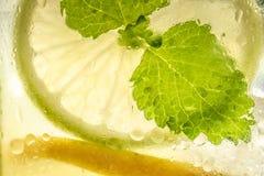 与新鲜的冷的冰、柠檬和薄荷叶的柠檬水鸡尾酒Mojito在金属螺盖玻璃瓶 图库摄影