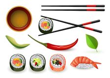 与新鲜的卷和ebi nigiri的寿司日本海鲜集合 库存例证