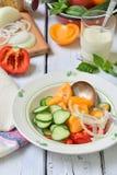 与新鲜的成熟夏天菜的素食健康沙拉:蕃茄、黄瓜、胡椒和葱在轻的木背景 库存照片