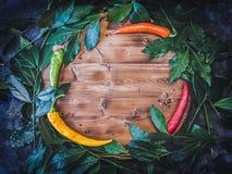 与新鲜的月桂属叶子和辣椒的平的位置背景在木切板 免版税库存照片