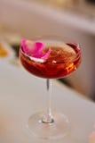 与新鲜的玫瑰花瓣的桃红色鸡尾酒 库存照片