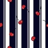 与新鲜的红色樱桃无缝的样式的避暑胜地条纹 向量例证