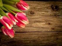 与新鲜的红色郁金香装饰的木背景 免版税库存照片
