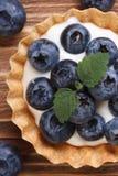 与新鲜的蓝莓宏观垂直的果子馅饼 免版税图库摄影