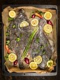与新鲜的调味料、柠檬和香料的比目鱼鱼在烤盘 图库摄影