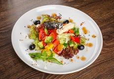 与新鲜蔬菜的传统希腊沙拉 餐馆健康食物 库存图片