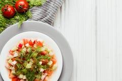 与新鲜蔬菜的健康早晨膳食 库存图片