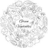 与新鲜蔬菜的手拉的集合 免版税库存图片