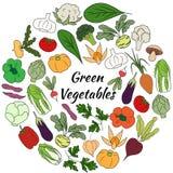 与新鲜蔬菜的手拉的集合 库存图片