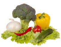 与新鲜蔬菜的静物画 免版税库存图片